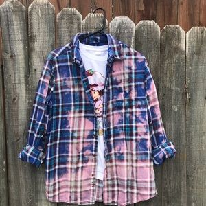 Upcycled distressed bleached flannel size medium